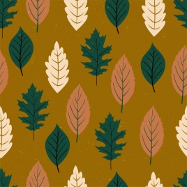 leaves pattern multicolored flat decor