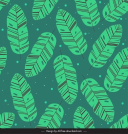 leaves pattern template classical green sketch