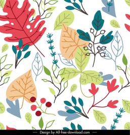 leaves pattern template colorful classic flat handdrawn sketch
