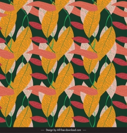 leaves pattern template colorful retro decor