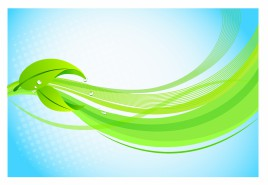 Leaves with Graphic Wave Background
