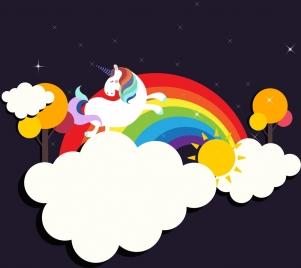 legendary background flying horse colorful rainbow cloud decoration