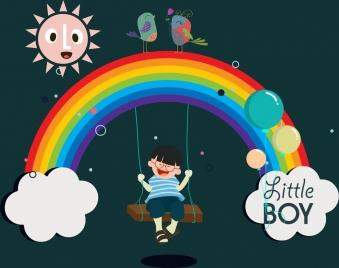 legendary background swinging boy multicolored rainbow birds icons