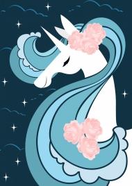 legendary background unicorn icon dark blue decor