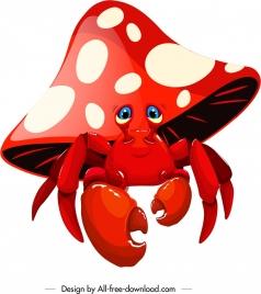 legendary crab icon mushroom shape red 3d sketch