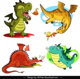 legendary dragon icons funny cartoon characters