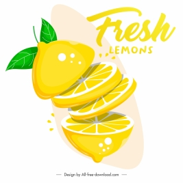 lemon advertising banner dynamic 3d slices sketch
