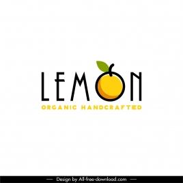 lemon fruit logotype flat texts classic design