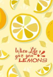 lemon fruits background slices icons yellow design