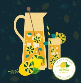 lemon juice advertisement glass cup icon dark design