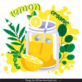 lemon juice advertising banner bright colored classic design