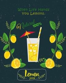 lemon juice advertising fruit icon colored retro design