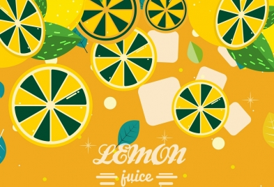 lemon juice background slices ice liquid icons