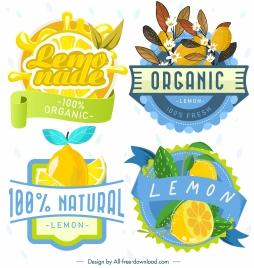 lemon label templates colorful classic design