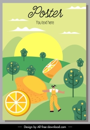lemon poster templates colorful classic cartoon decor