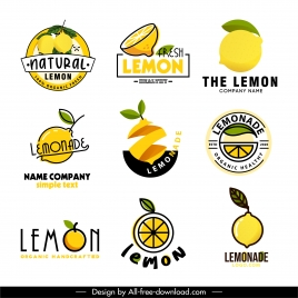 lemon products logotypes bright 3d flat sketch