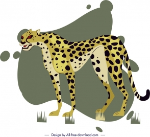 leopard painting colored cartoon sketch