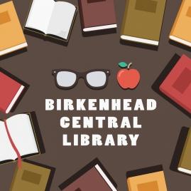 library advertisement books glasses apple icons decor