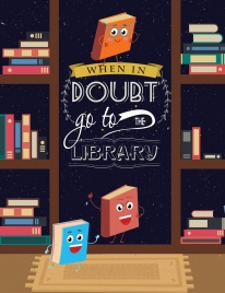 library advertisement stylized book icons colored cartoon design