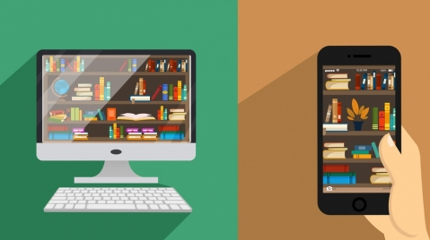 library advertising computer smartphone bookshelves icons
