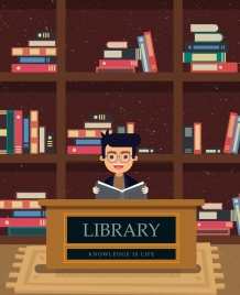 library background reading man bookshelf icons colored cartoon