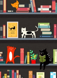library bookshelf layout cats books icons decor