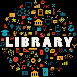 library design elements dark multicolored icons circle layout