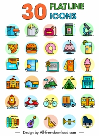 life icons collection colorful flat classical sketch