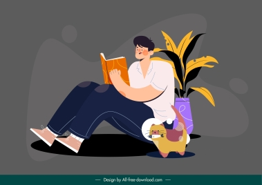 lifestyle activity painting reading man sketch cartoon sketch