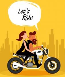 lifestyle background couple riding motorbike icon cartoon design