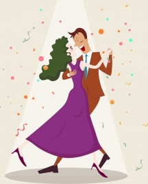 lifestyle background dancing couple icon cartoon characters