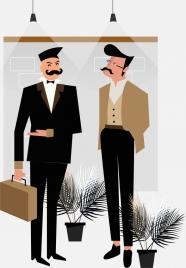 lifestyle background elegant men icon cartoon characters