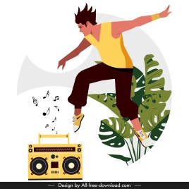 lifestyle background excited young man radio music sketch