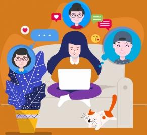 lifestyle background friends chatting avatar icons cartoon design