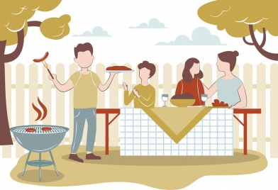 lifestyle background gathering people barbecue icons cartoon sketch