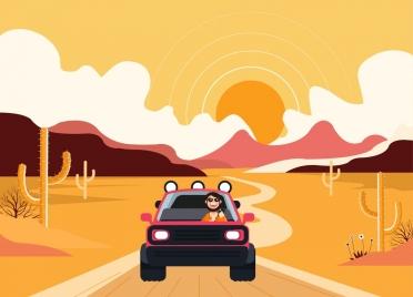 lifestyle background man driving car desert icons