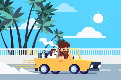 lifestyle background man pet car road icons