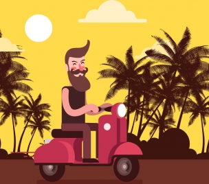 lifestyle background man scooter icons cartoon design