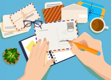 lifestyle background postcard writing theme hand envelope icons