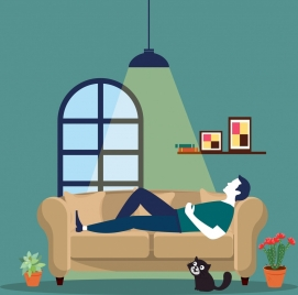 lifestyle background relaxed man icon cartoon design