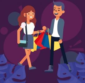 lifestyle background shopping couple icon cartoon design