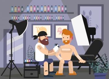 lifestyle background tattoo work theme cartoon characters