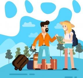 lifestyle background travel theme young couple luggage icons