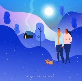 lifestyle background walking couple icon blue decor