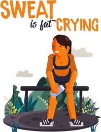 lifestyle banner exercise woman cartoon design