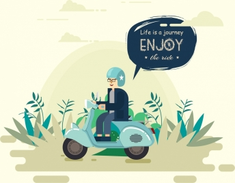 lifestyle banner man ride motorbike icon cartoon design