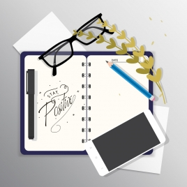 lifestyle banner notebook glasses pencil smartphone icons decor