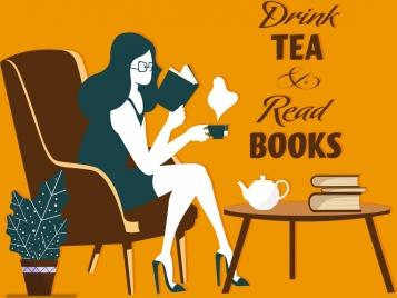 lifestyle banner reading woman tea break icon
