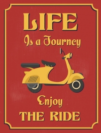 lifestyle banner retro motorcycle icon decor
