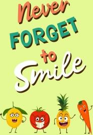 lifestyle banner stylized fruit icons funny cartoon design